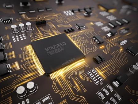 PCB electrónico de alta tecnología (placa de circuito impreso) con procesador, microchips y brillantes señales electrónicas digitales. 3d ilustración