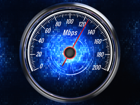 High speed internet connection concept - speedometer with internet connection speed. Front view. 3d render