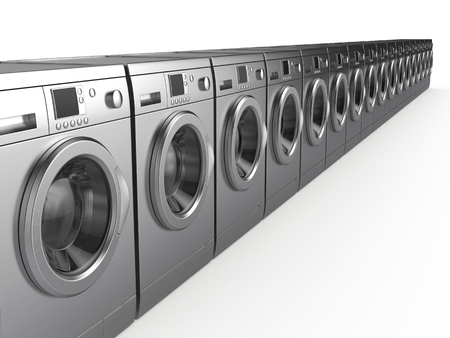 machines: Washing machines isolated on white - 3d render