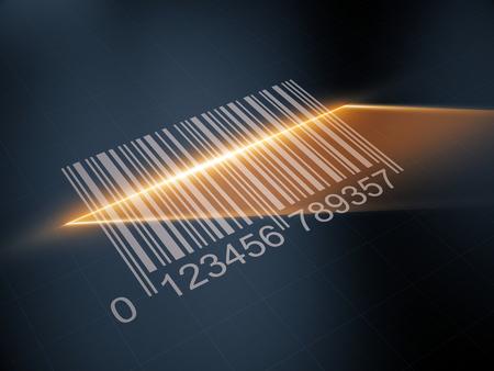 Scan barcode met de laser strip. 3d illustratie