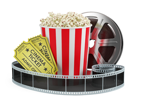 Cinema concept: Film reel, popcorn, cinema tickets isolated white background, 3d render Stock Photo