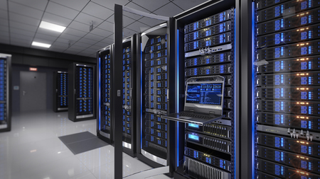 data processor: Rackmount LED console in server room data center - 3d illustration Stock Photo