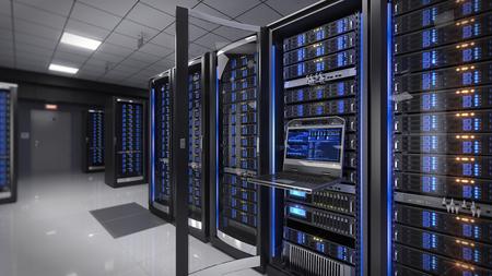 Rackmount LED console in server room data center - 3d illustration Stock Photo