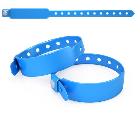 Blue blank bracelet isolated on white - 3d render