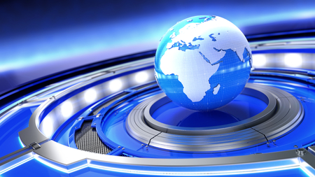 News, broadcast media concept. Abstract image of a world globe. 3d illustration Standard-Bild