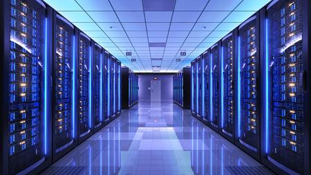 szaf serwerowych w pomieszczeniu z serwerem centrum danych. 3d render