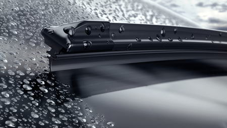 Car windshield with rain drops and frameless wiper blade closeup. 3d render Archivio Fotografico