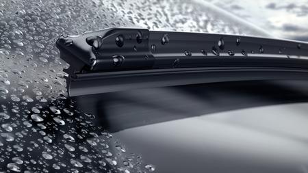 pare-brise de voiture avec des gouttes de pluie et gros plan de la lame d'essuie-glace sans cadre. 3d render