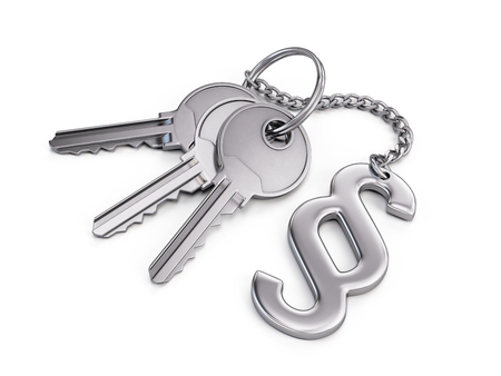 sectional door: Keys with paragraph symbol isolated on white. 3d render