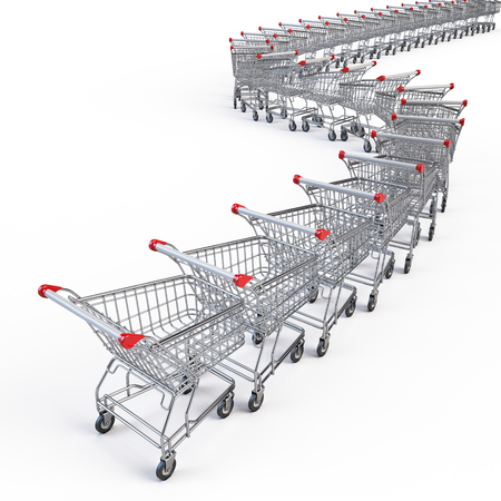 Supermarket shopping carts isolated on white. 3d render