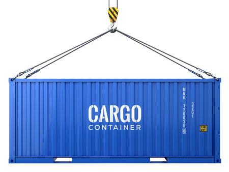 Blue cargo freight shipping container isolated on white background. 3d render 写真素材
