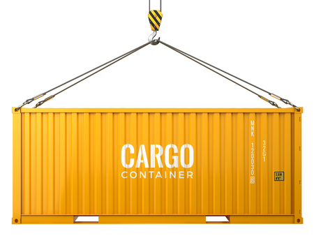 Cargo freight shipping container isolated on white background. 3d render