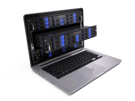 Computer rack servers in laptop screen - 3d illustration Stock Photo