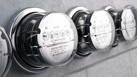 Kilowatt hour electric meters, power supply meters. 3d rendering Foto de archivo