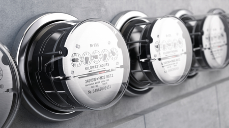 Kilowatt hour electric meters, power supply meters. 3d rendering Archivio Fotografico
