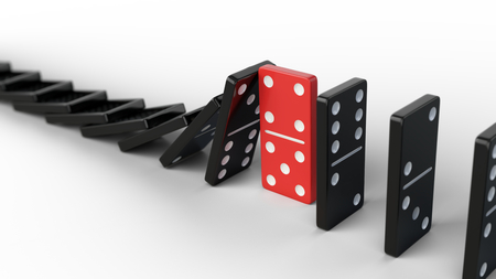 Leadership and teamwork concept - Red domino stops falling other dominoes. 3d render