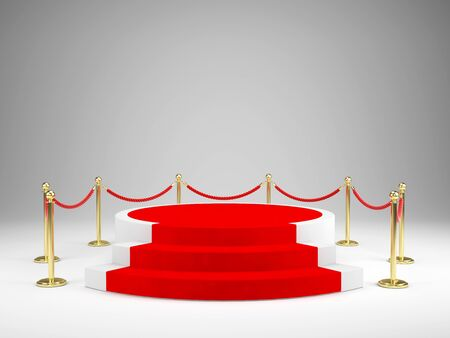 Stage with red carpet for awards ceremony. Podium, Pedestal concept. 3d illustration.