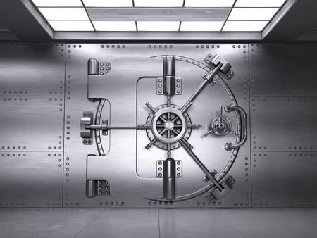 Vista frontal de Closed Bank Vault Door. Render 3d Foto de archivo - 74426840