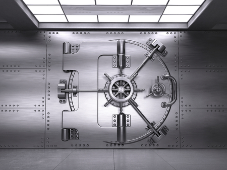 Front view of Closed Bank Vault Door. 3d render