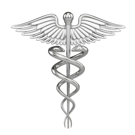 Srebrny metall Kaduceusz - medyczny symbol z białym. 3d odpłacają się