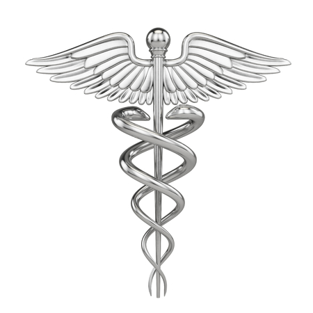 Silver metall Caduceus - medical symbol with isolated on white. 3d render