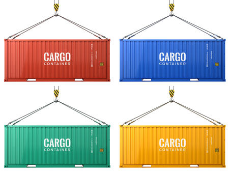 Colorful cargo freight shipping containers isolated on white background. 3d render