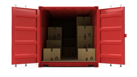 Open red cargo freight shipping container with cardboard boxes isolated on white. 3d illustration Stock Photo