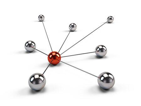 ネット コミュニケーションやソーシャル メディア ネットワークの概念。3 d イラストレーション