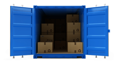 Open blue cargo freight shipping container with cardboard boxes isolated on white. 3d illustration Stock Photo