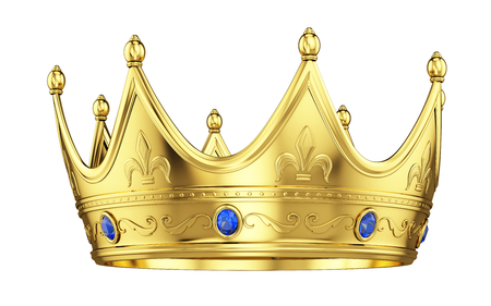 Royal gold crown with sapphires isolated on white. 3d rendering Stok Fotoğraf