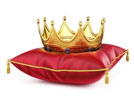 Royal gold crown on red pillow isolated on white. 3d rendering Фото со стока - 76826112