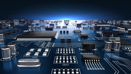 High-tech elektronische PCB (printed circuit board) met processor en microchips. 3d illustratie Stockfoto