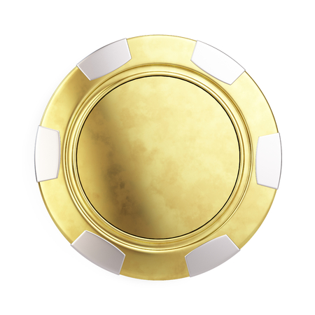 wining: Front view of Gold casino chip isolated on white - 3d render