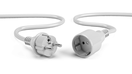 Disconnected Electric plugs isolated on white - 3d render