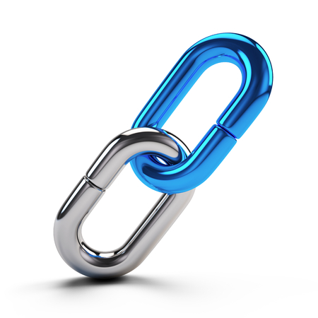 Lock, connection concept - Chain Link icon isolated on white. 3d rendering