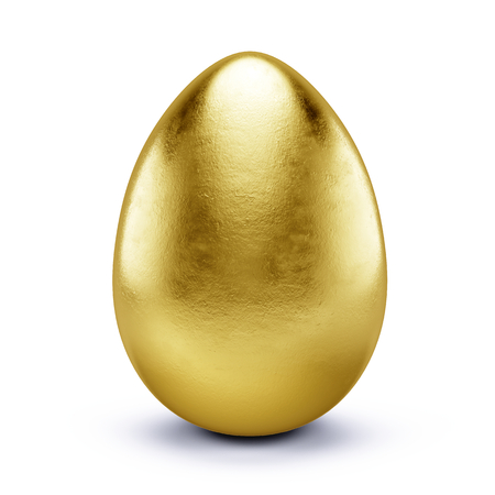 jeweled: Golden egg isolated on white - 3d render Stock Photo