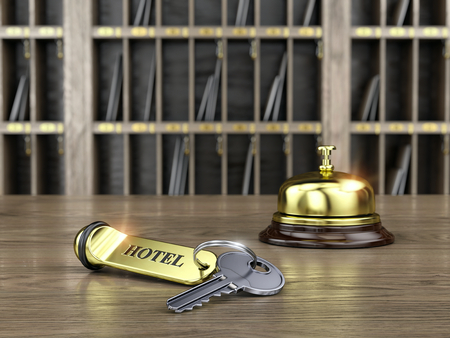 cardkey: Hotel key and reception bell on reception desk - 3d render