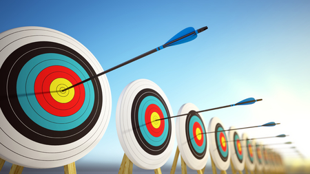 Arrows hitting the centers of targets - success business concept. 3d render 版權商用圖片 - 77685478