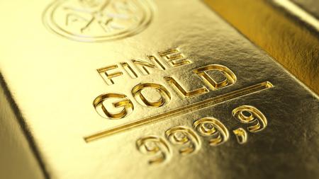 Fine Gold Bar macro - 3d illustration Stock Photo