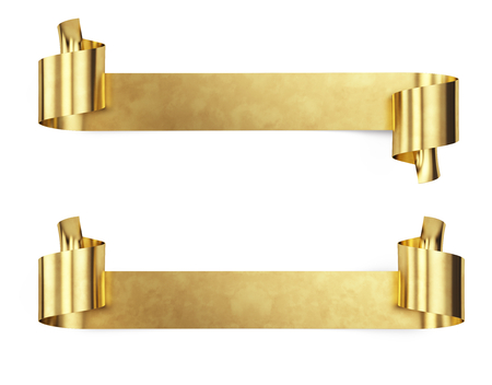 Gold Metal Banner isolated on white - 3d render