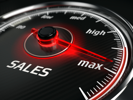 Great Sales - sales speedometer with needle points to the maximum. 3d rendering Stok Fotoğraf