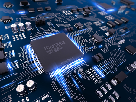 High tech electronic PCB (Printed circuit board) with processor and microchips. 3d illustration