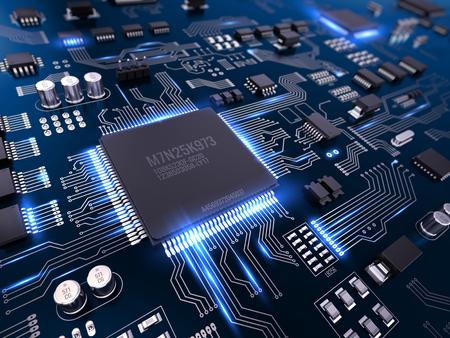 PCB electrónico de alta tecnología (placa de circuito impreso) con procesador y microchips. 3d ilustración