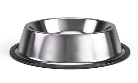 Metall 애완 동물 그릇 흰색 배경에 고립. 3 차원 렌더링