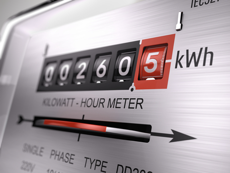 Kilowatt hour electric meter, power supply meter - closeup view. 3d rendering Archivio Fotografico