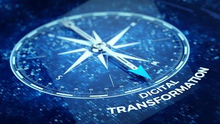 Digitaal Transformatieconcept - Kompasnaald wijzend Digitaal Transformatiewoord. 3D-rendering Stockfoto