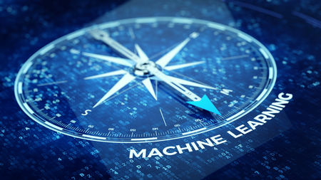 algorithms: Machine learning concept - Compass needle pointing Machine learning word. 3d rendering Stock Photo