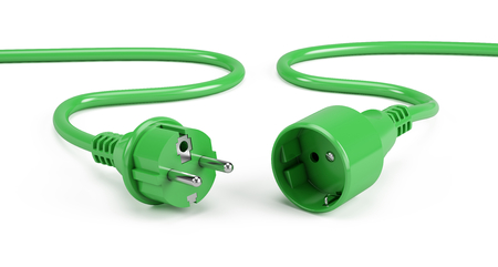 Green Electric plugs isolated on white - 3d render Stock Photo