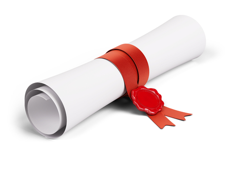 Paper scroll diplome with red ribbon and wax seal on a white background. 3d render