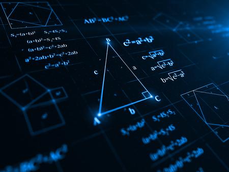 pythagorean theorem. 3d illustration Stock Photo